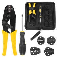 Handskit Wire Crimper Pliers Screwdriver Tool With 4 Replaceable Terminal Multi Functional Wire Stripper Cutter Pliers