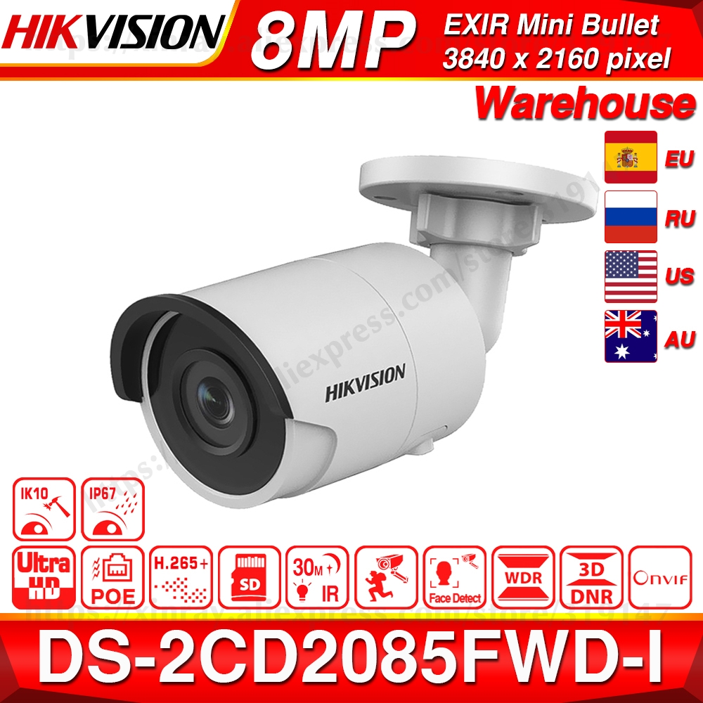 Hikvision Original 8MP IP Camera DS-2CD2085FWD-I Bullet Network CCTV Camera Updateable POE WDR POE SD Card Slot