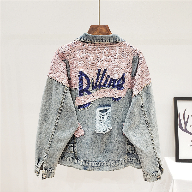 Denim Women Jacket Autumn 2020 New Spring Vintage Sequins Pink Shiny Loose Coat Long Sleeve Outerwear Female Jacket