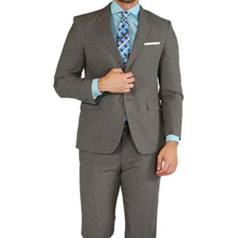 Grey Men Suits Double Breasted 2 Pieces (Jacket+Pants) Peaked Collar Slim Fit Suits For Wedding Dinner Party Tuxedos