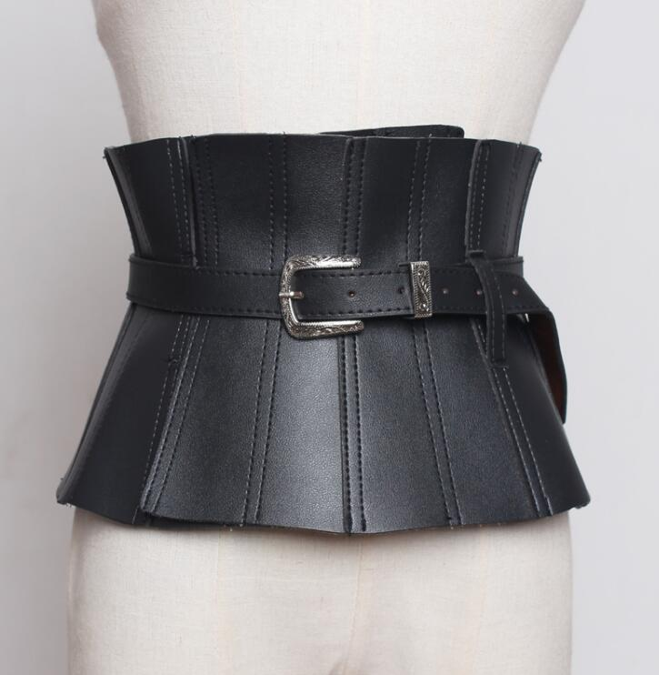 Women's Runway Fashion Slim Pu Leather Cummerbunds Female Dress Coat Corsets Waistband Belts Decoration Wide Belt R1762