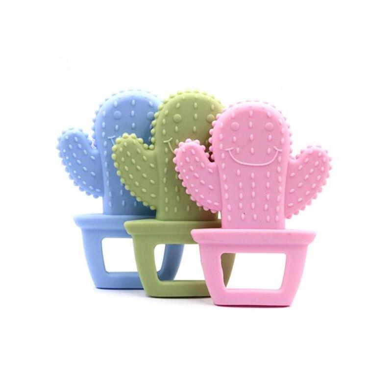 Детский Прорезыватель 1 шт., милый кактус, Прорезыватель для зубов, пищевая бижутерия, прорезыватель, силиконовые игрушки, ожерелье