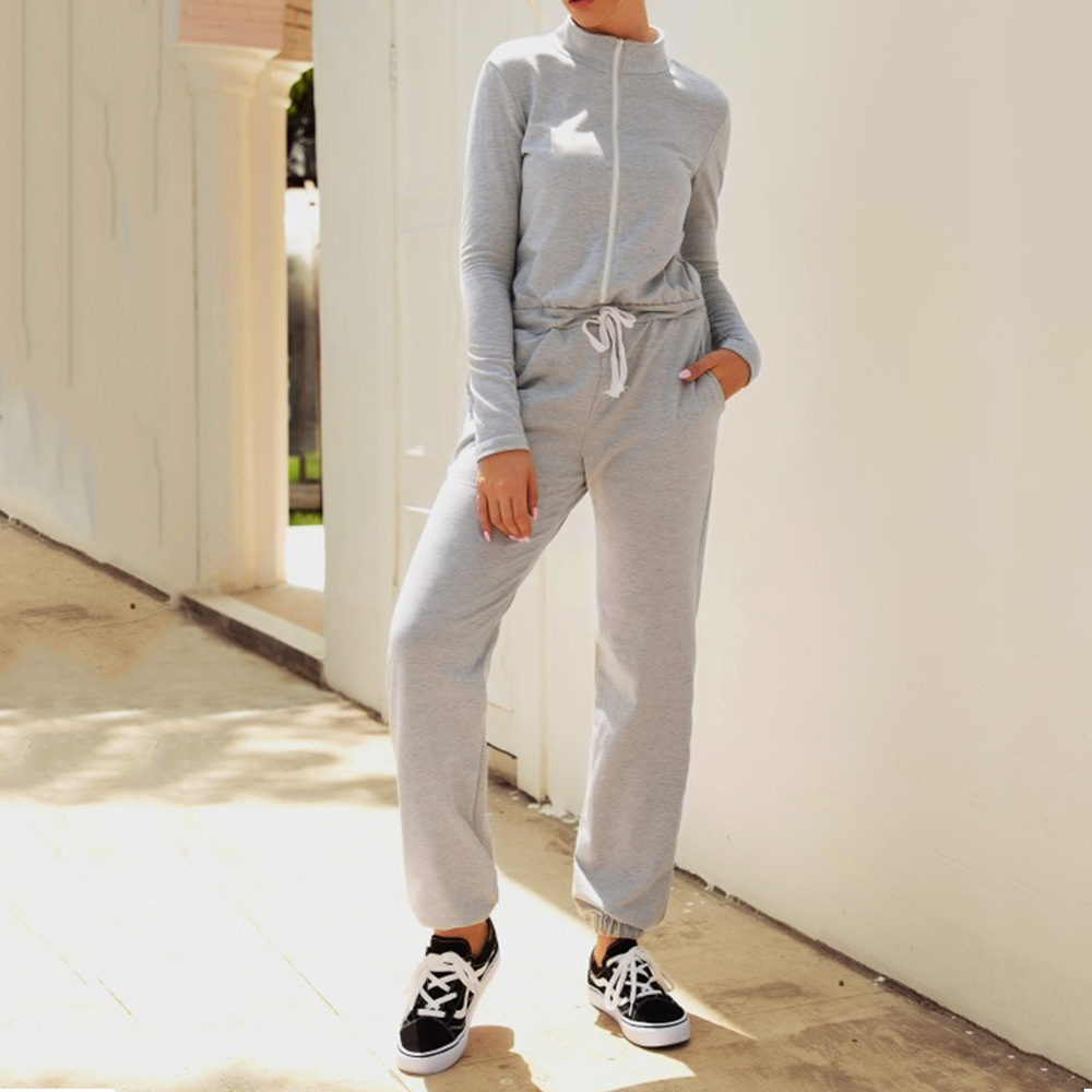 Jumpsuits Casual Ladies Drawstring Tracksuit Fitness Sporty Jogging Overalls Grey Zipper Rompers Womens Jumpsuit Fall Winter D30