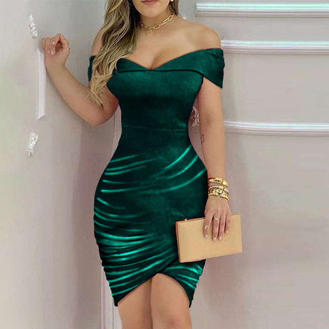 Women Sexy Shiny Off Shoulder Sleeveless Ruffles Ruched Nightclub Bodycon Dress Party Dresses 4