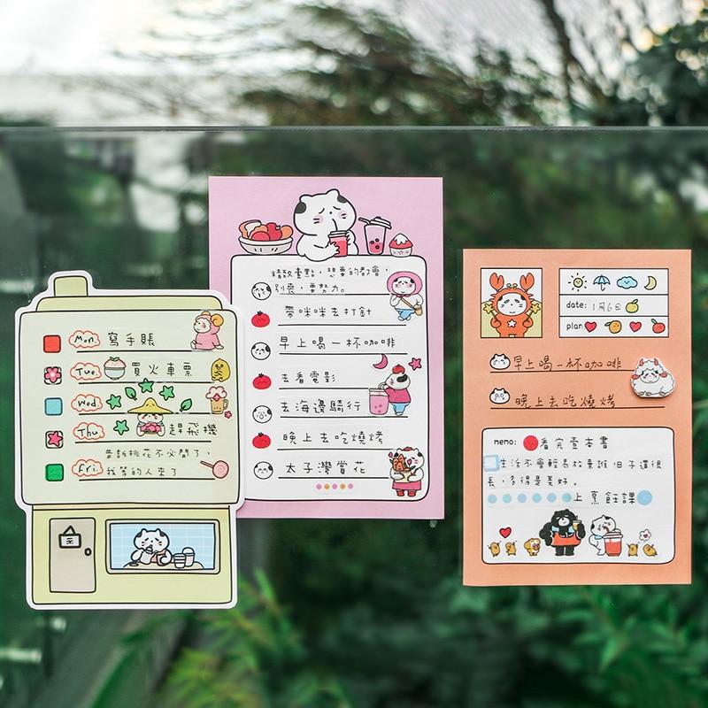 1 Set Of 12 Sheets Memo Paper+ 1 Sheet Sticker Uncle Shop Series Kawaii Cat Memo Pad Decorative Stickers Kids Gift