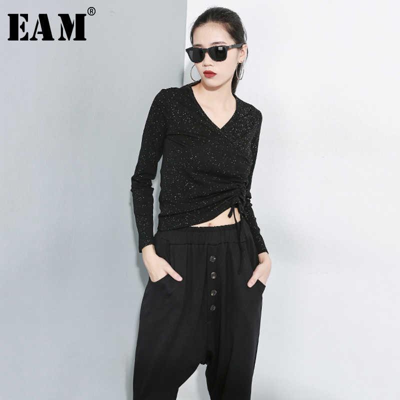 [EAM] Женская Черная узкая Асимметричная короткая футболка с завязками, новая модная Универсальная футболка с v-образным вырезом и длинным рукавом, весна-осень 2019