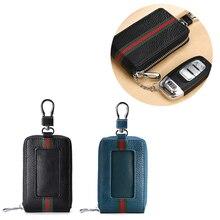 Cc RFID Car Key Bag Real Leather Zipper Buckle Electromagnetic Shield Key Bag  Leather Keychain  Car Key Case Holder Key Pocket