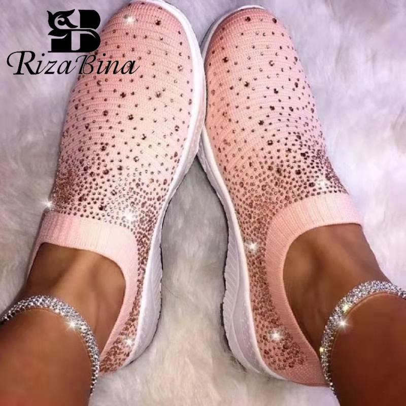 RIZABINA Women Sneakers Elastic Fly Knitted Sock Shoes Women Crystal Flats Boots Casual Fitness Walking Footwear Size 36-43