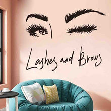 Wall Decal Beautiful Charming eyes Lashes Wink Decor Wall Art Beauty Salon Eyebrows Make Up Design Bedroom Sticker #0817(China)
