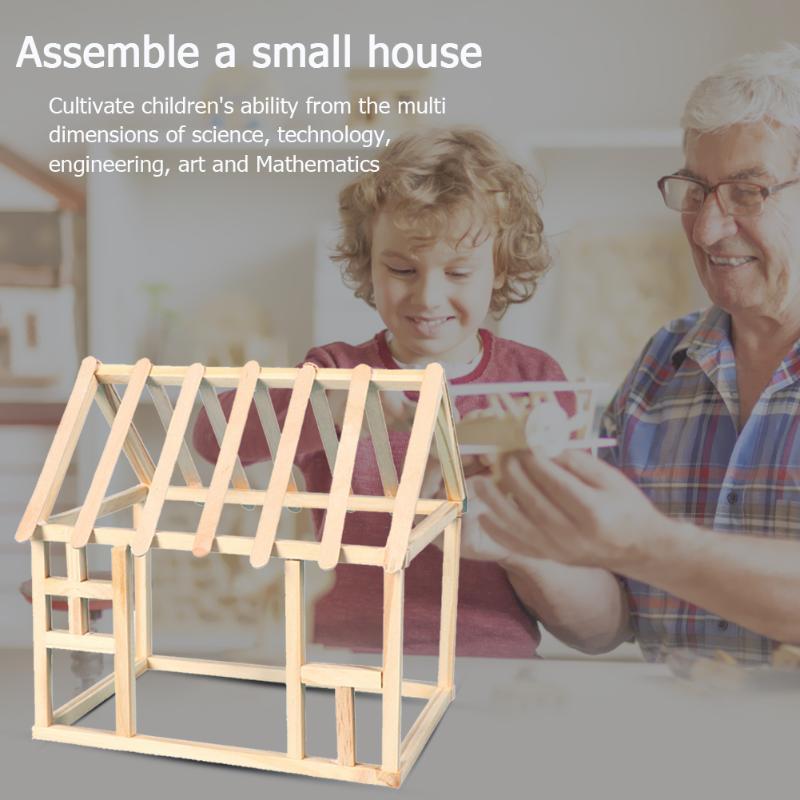 Kids DIY House Sticks Materials Kits Develop Children Thinking Creativity Handmade Assemble Crafts Educational Toys