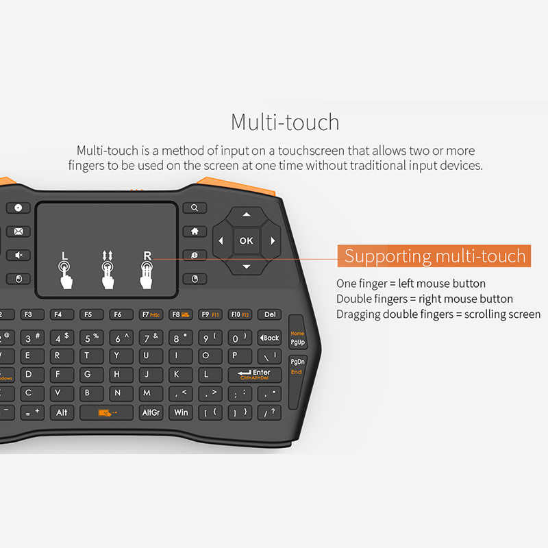 Trkee 2.4GHz Wireless Keyboard Mini Air Mouse with Highly Sensitive Touchpad for Laptop PC