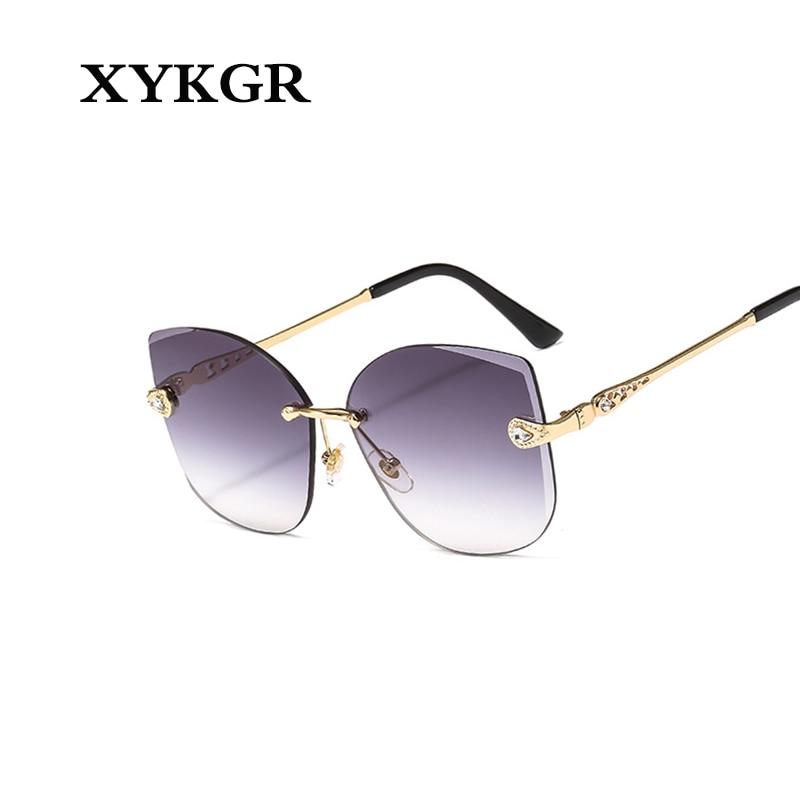 XYKGR new frameless sunglasses ladies cat eyes fashion trend mens outdoor UV400