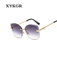 XYKGR new frameless sunglasses ladies cat eyes fashion trend mens outdoor UV400