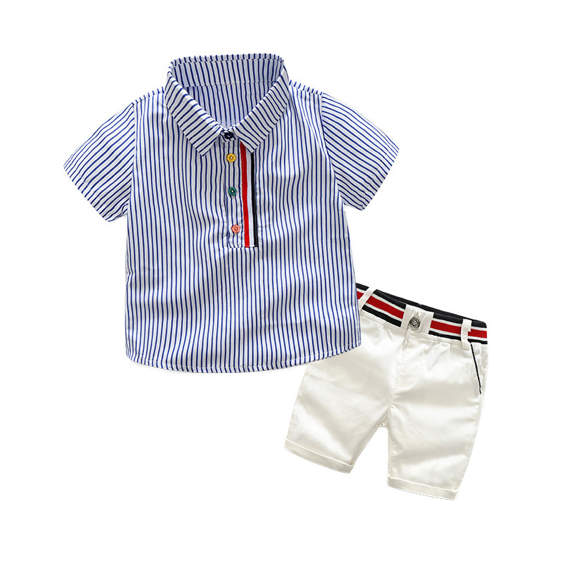 2020 Summer Clothing Kids Striped Short Sleeve T Shirt Shorts 2 Pcs Suit Gentleman Baby Boys Clothes For Children 2 3 4 5 6 Year