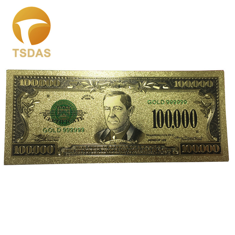 10pcs/set 24K Gold Banknote American $100.000 Foil Banknotes Souvenir Replica Bills Free Shipping