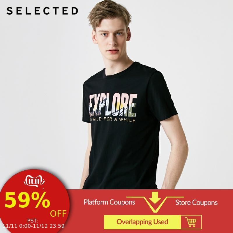 SELECTED Men's Summer 100% Cotton Letter Print Short-sleeved T-shirt S|419201575
