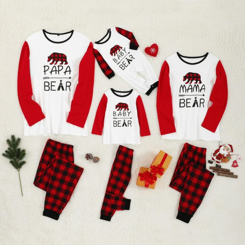 Plaid Sleepwear Christmas Family Pajamas Sets Father Mother Kid Baby's Matching Nightwear Clothes Outfits Look Christmas Pajamas