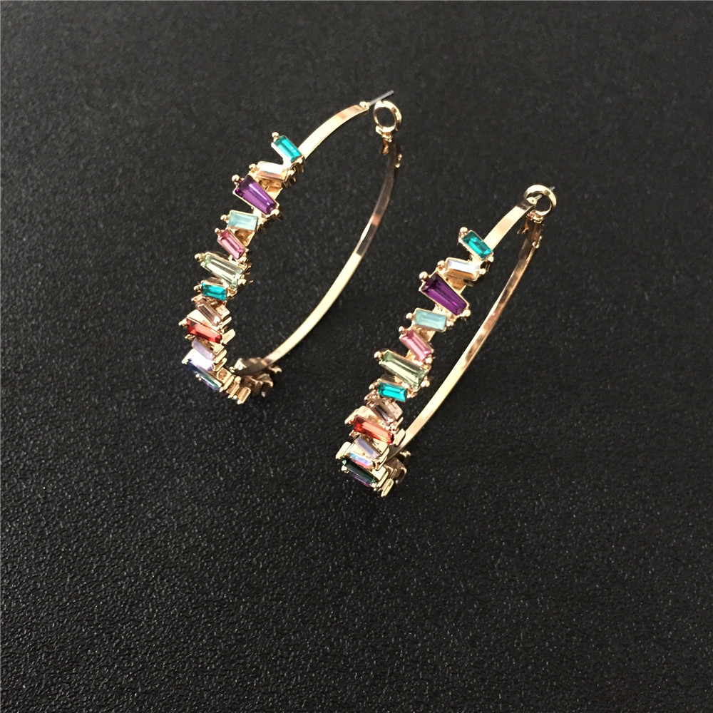 2019 F/W New Arrival Gold Color Multi Color Baguette Rhinestone Statement Hoop Eearrings For Women Party  Box Packing