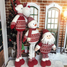 Plush Christmas Ornaments Retractable Standing Toy Christmas Figurines Santa/Snowman/Reindeer for Home Indoor Outdoor Decoration