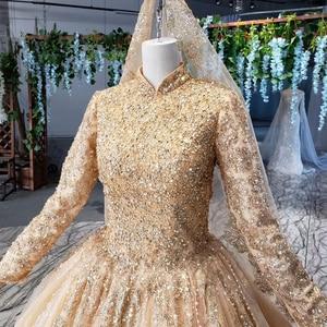 Image 5 - HTL258G muslim wedding dresses long sleeves high neck bead gold bride dress party with bridal veil robe mariage boheme