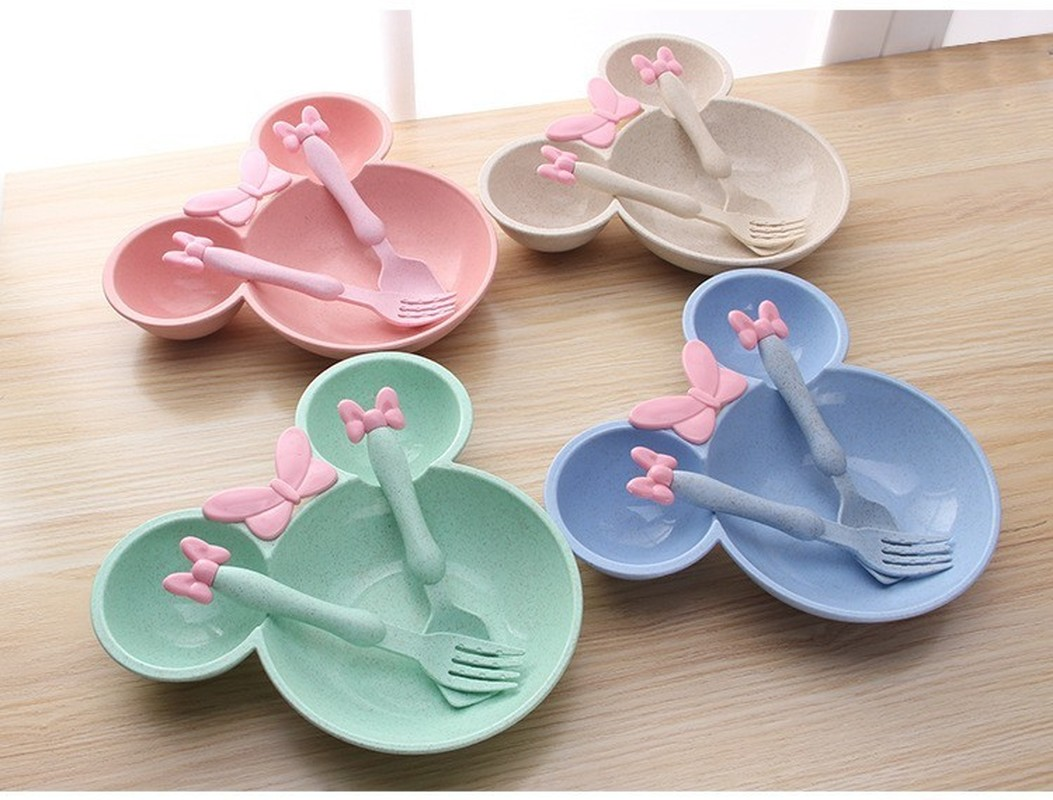 3pcs Eco-friendly Healthy Bowl Baby Plate Tableware Cartoon Feeding Dishes Fruit Plates Dinner Spoon Fork Kids Travel Dinnerware