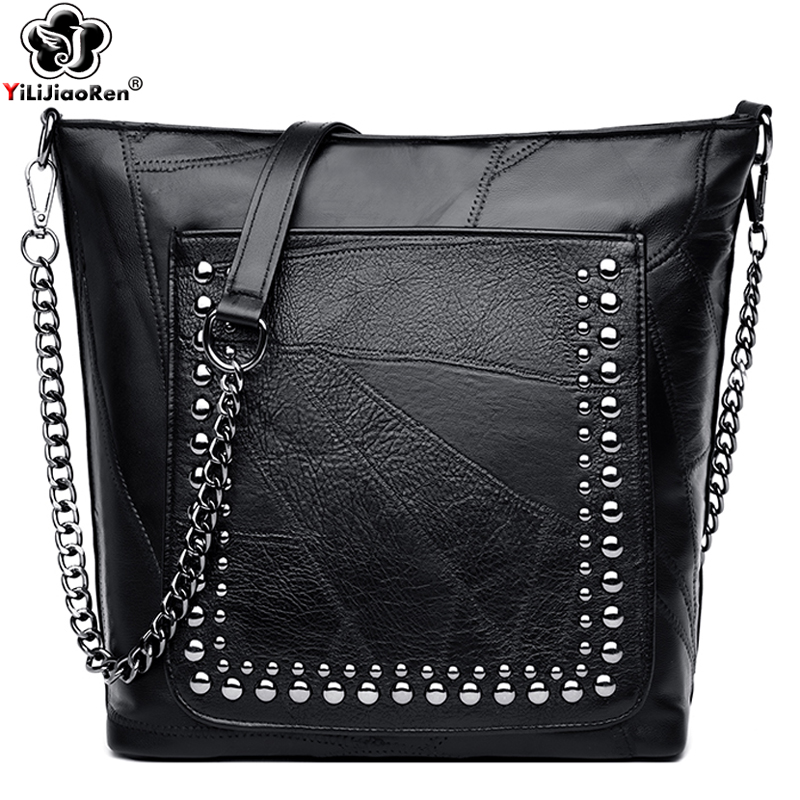 New Fashion Rivet Crossbody Bag High Quality Genuine Leather Designer Chain Messenger Bag Luxury Large Shoulder Bags Sac A Main