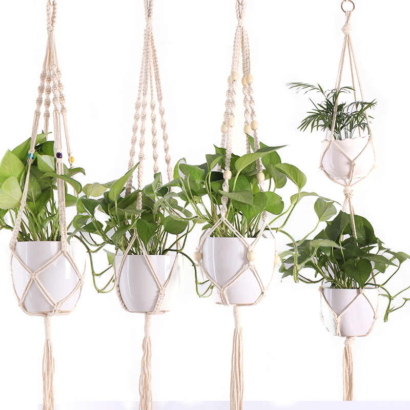 90cm Knotted Macrame Plant Hanger Vintage Cotton Linen Flowerpot Basket Lifting Rope Hanging Basket Pot Holder Garden Tools