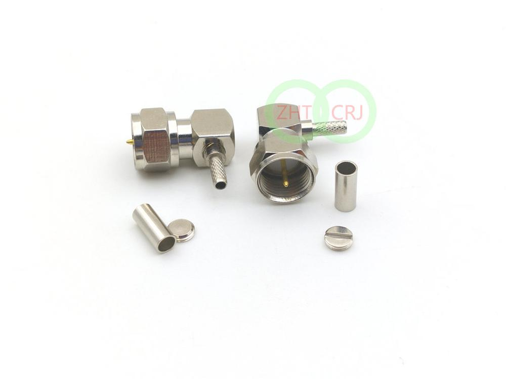 10 x SMA Female plug right angle crimp RG174 RG179 RG316 RG188 cable connector
