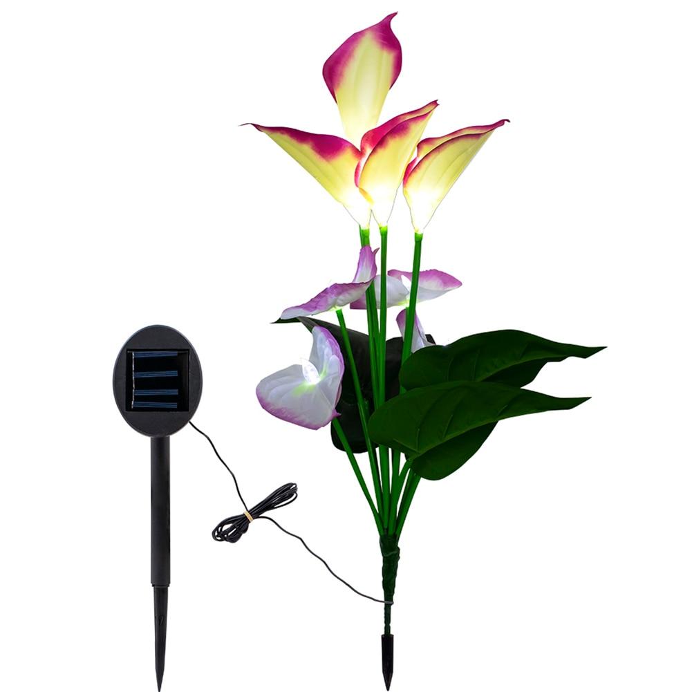 Calla Lily Flower Solar Power Lights Outdoor Waterproof LED Lamps Garden Yard Lawn Path Landscape JA55