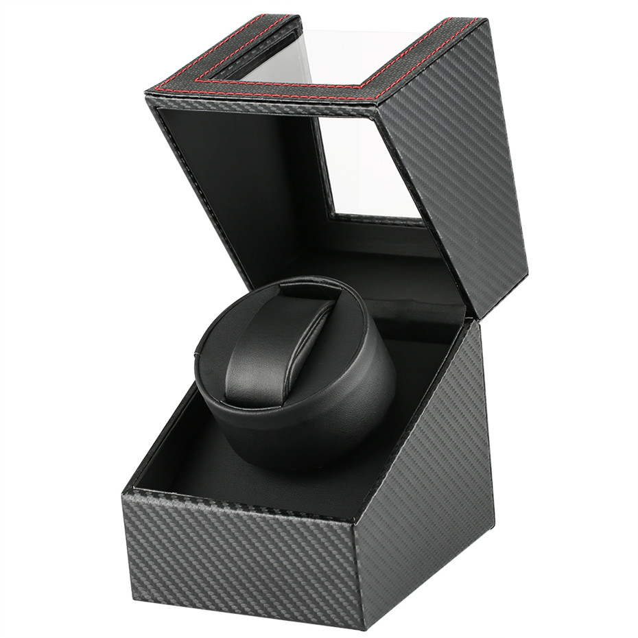 1+0 Winder Box Luxury Black Mechanical Self Winding Watch Winding Box Storage Motor Shaker Watch Winders | Watch Boxes