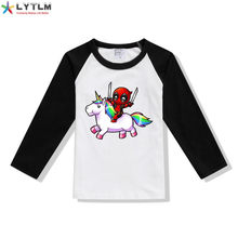 LYTLM Deadpool Unicorn T Shirt Small Boy Big Girl Deadpool T-shirt Toddler Girl Shirt Boys Long Sleeve Tops Baby T Shirts Boy(China)