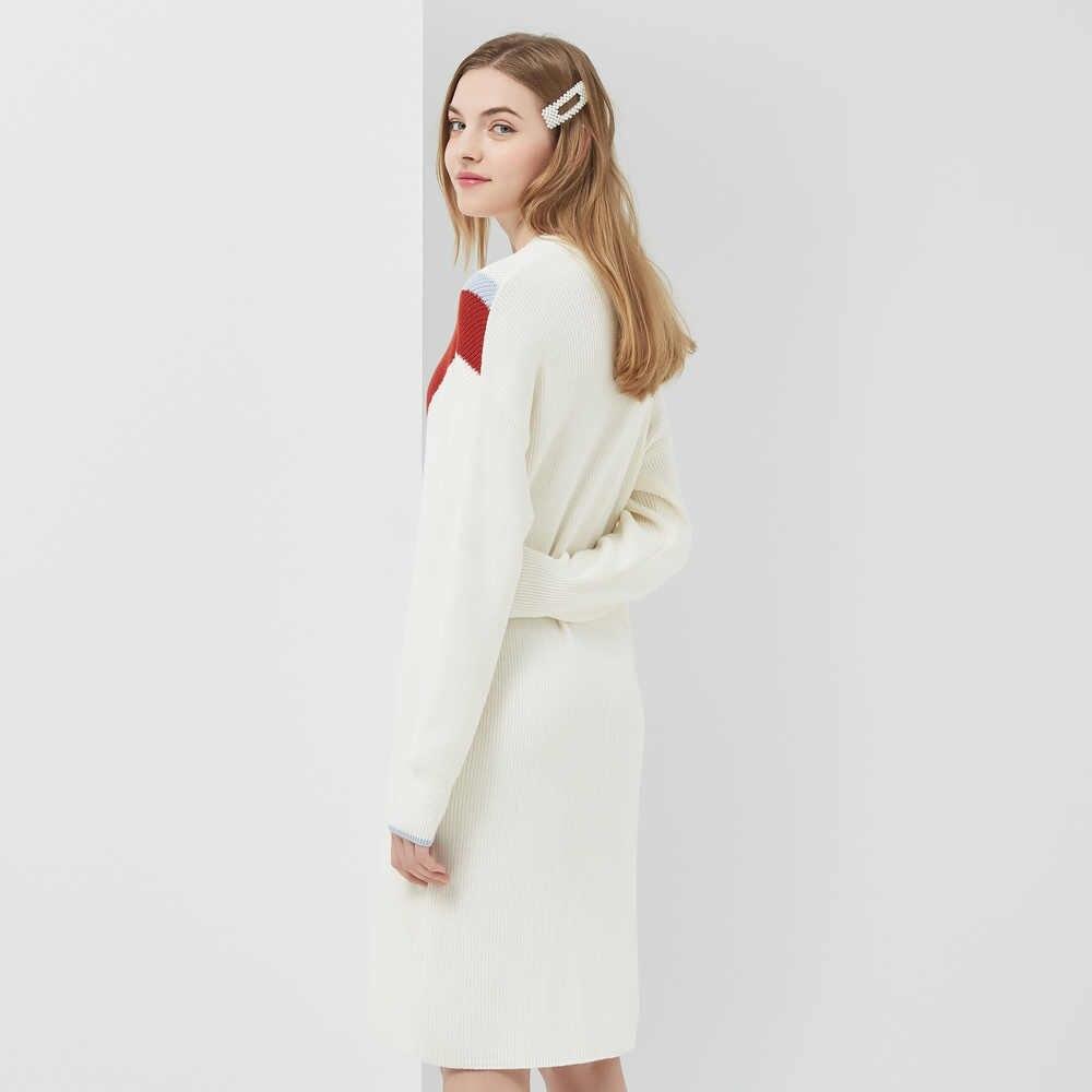 Metersbonwe 긴 니트 드레스 여성 패널 컬러 스웨터 드레스 셔츠 사무실 숙녀 2019 가을 겨울 드레스 여성 드레스