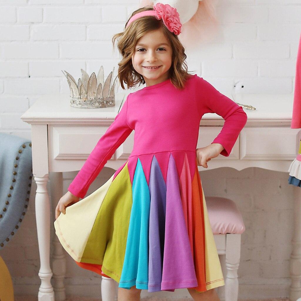 2020 nova menina vestido de algodão crianças roupas manga longa meninas rainbow vestidos primavera de unicornio para ni um vestido menina