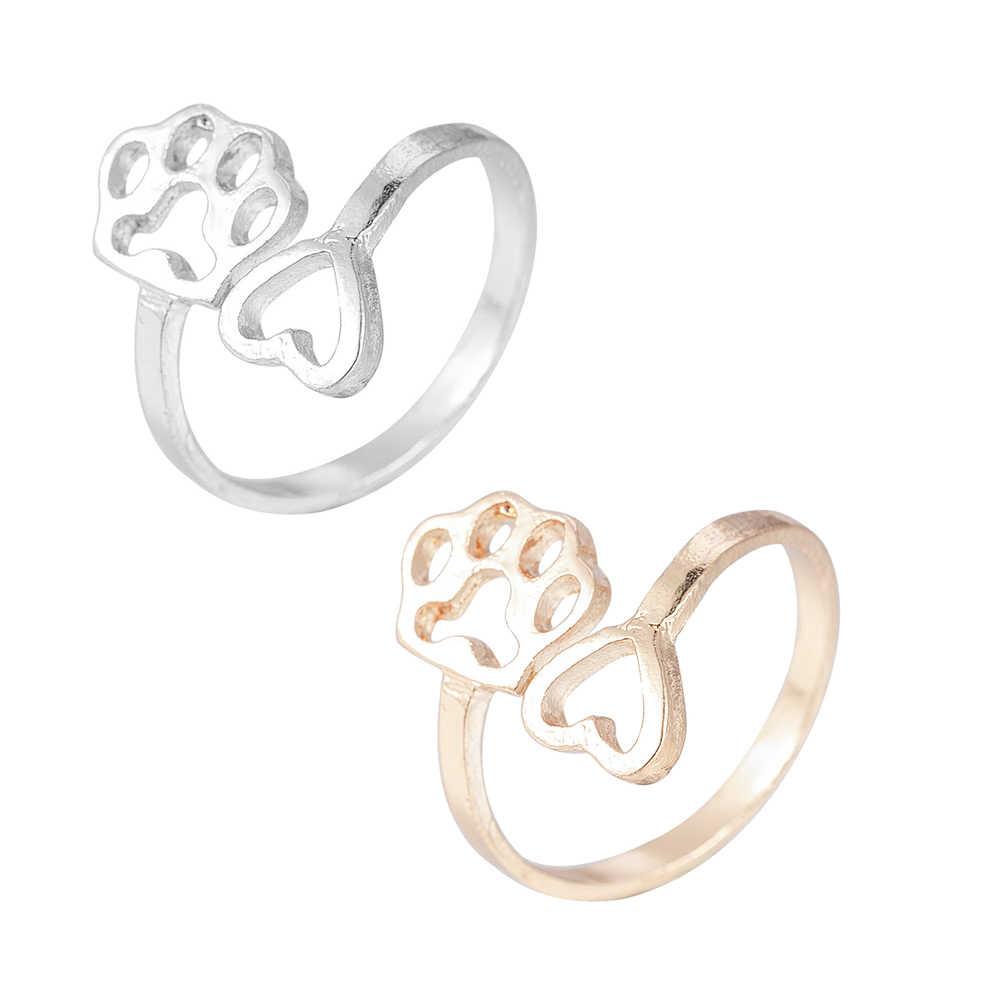 2019 แฟชั่นน่ารักสัตว์เลี้ยงสุนัข Footprints Paw หัวใจแหวนแหวนสำหรับงานแต่งงานผู้หญิง Charms เครื่องประดับฟรีจัดส่ง