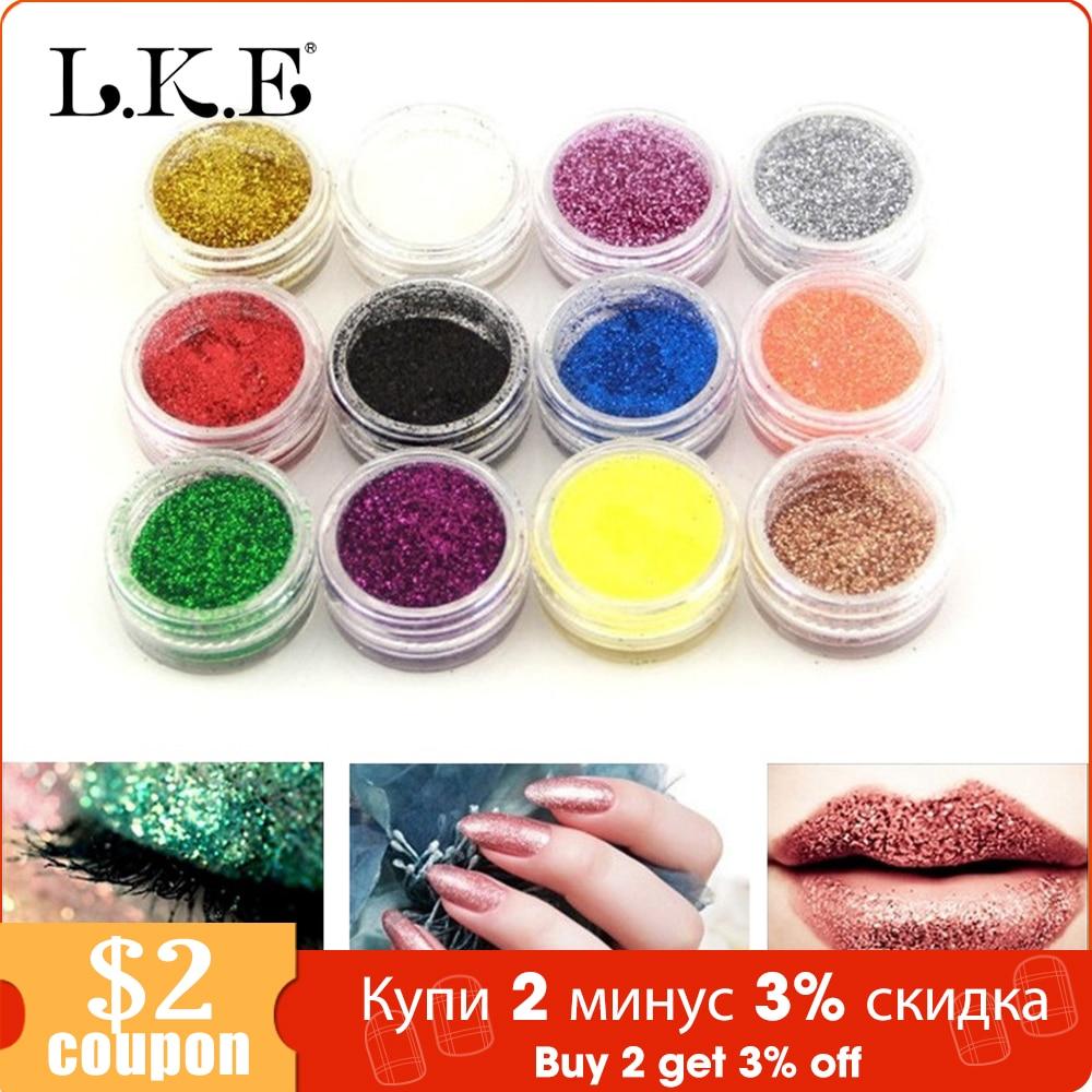 LKE 12Pcs/Set Nail Glitter Mini Bottle Nail Art Holographic Powder Dust 3D Tip Rhinestone Manicure Tools Nail Art Polish Glitter