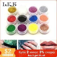 LKE Mini bouteilles pour ongles, poudre holographique, poussière, pointe 3D, strass, outil de manucure, pour Nail Art, 12 pièces par ensemble