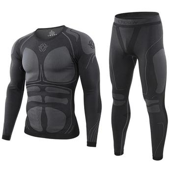winter Top quality thermo Cycling clothing Men's thermal underwear men sets compression training clothin - discount item  25% OFF Men's Sets