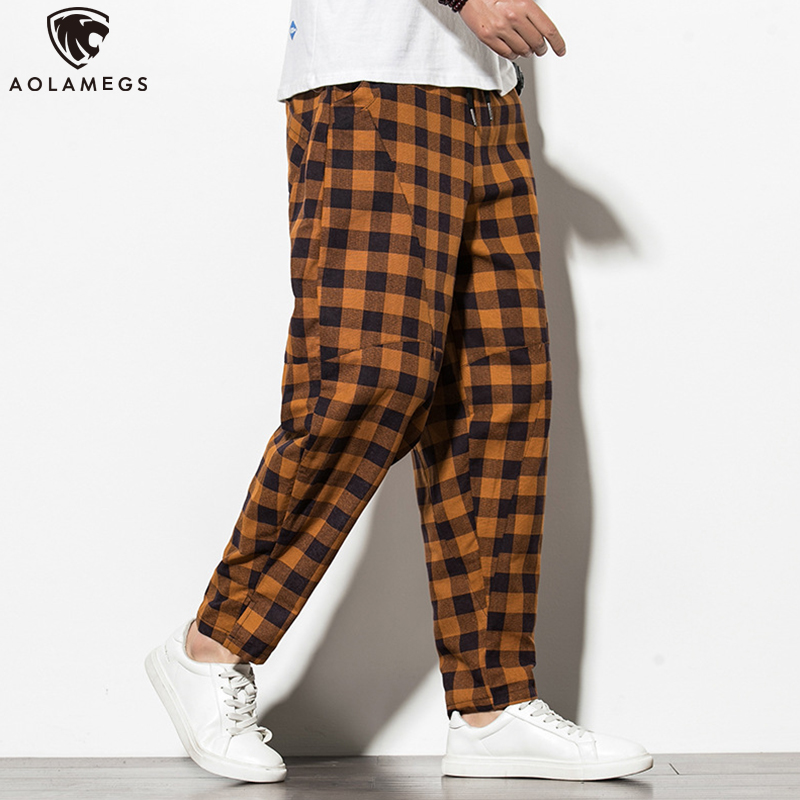 Aolamegs Pants Men Plaid Print Casual Pants Chinese Style Trousers Harajuku Cotton Linen Harem Pants Streetwear Plus Size M-5XL