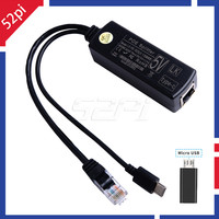 52pi gigabit raspberry pi poe splitter gigabit usb tipo c power over ethernet ieee 802.3af poe switch extensão