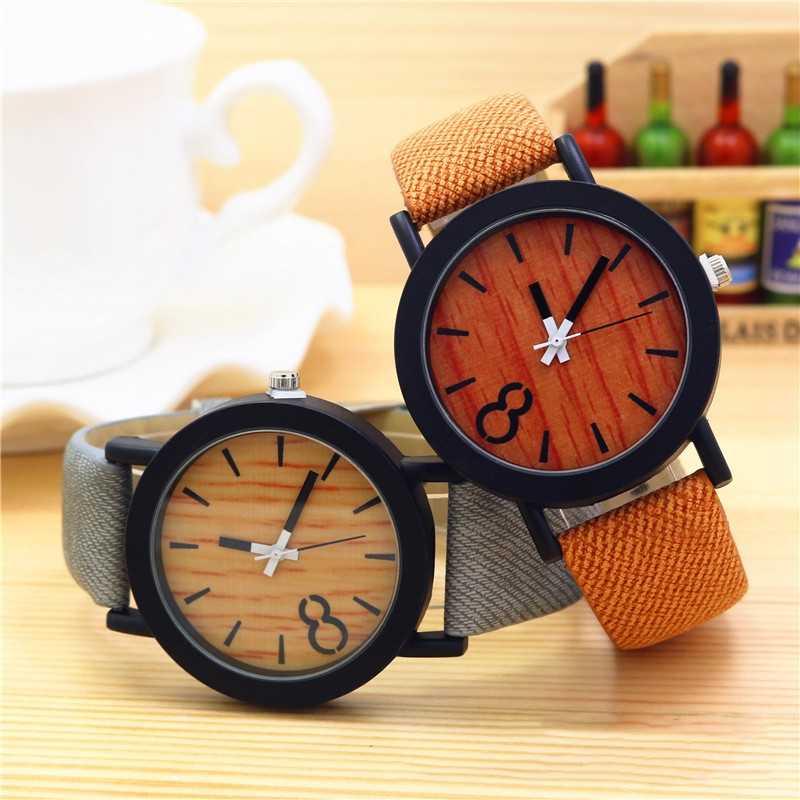 1 piezas. Reloj de imitación de lujo de imitación de grano de madera para hombres y mujeres, relojes de cuero casuales, relojes Unisex, relojes deportivos, reloj de pulsera de cuarzo