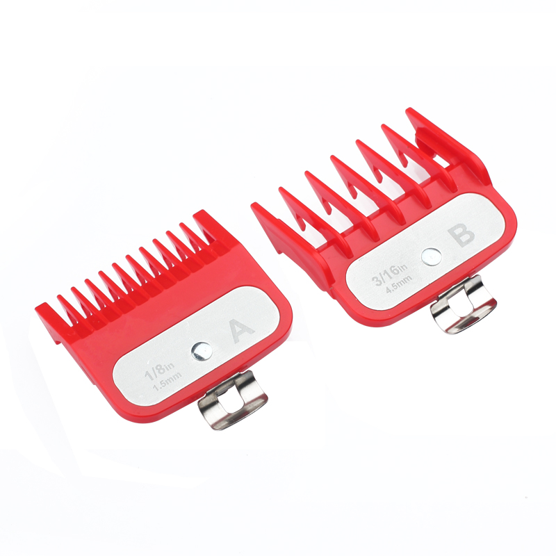 Guide Comb Sets 1.5 And 4.5 Mm Size Red Color Attachment Comb Set With A Metal Holder For Professional Clipper