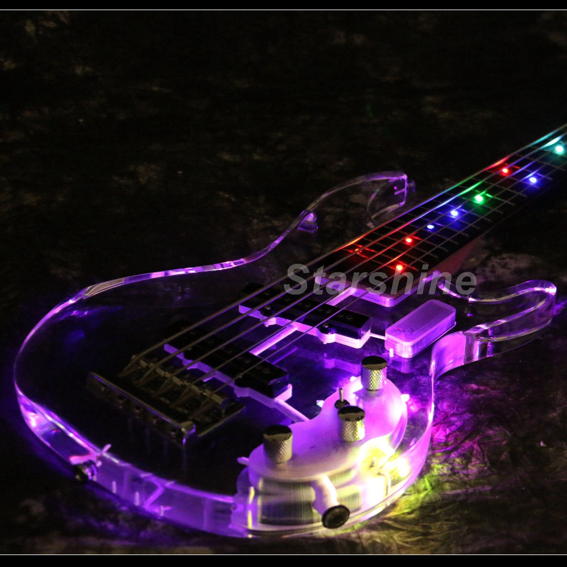 T-ED2 5 Strings Colorful LED Light Electric Bass  Acrylic Body Crystal Guitar
