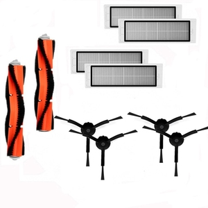 Image 1 - 2Pcs ראשי מברשת + 4Pcs Hepa מסנן + 4Pcs שחור צד מברשת לxiaomi Mi ואקום 1 roborock S50 S51 S55 E35 רובוט ואקום חלק