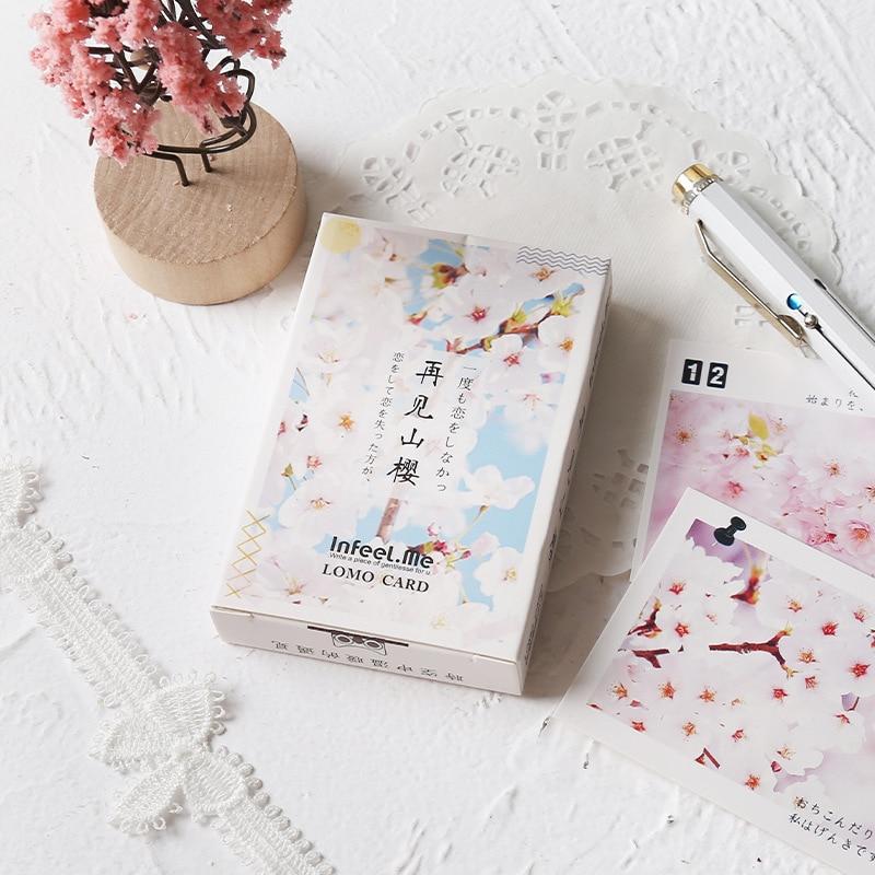 28 Pcs/pack Cherry Sakura Blossoms Lomo Greeting Card Postcard Birthday Gift Card Set Message Card Letter Envelope Gift Card