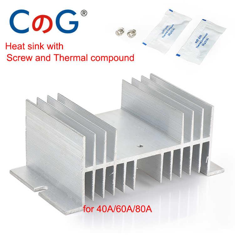 CG Radiateur Pour Monophasé 10A 25A 40A 60A 80A 100A 120A 200A Dissipateur de Chaleur En Aluminium SSR-10DA 25DA 40DA 1 Phase Relais Statique