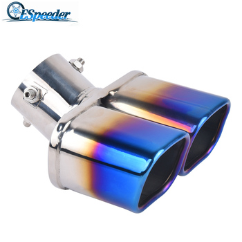 ESPEEDER Stainless Steel Exhaust Muffler Tips Square Car Exhaust For Golf 7 Bmw Exhaust Tip Double Outlet Car Accessories image