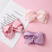 Baby Turban Ribbed Bows Nylon Headband For Children Girls Hairband Cute Ribbon Bows Fashion Hair Accessories For Girls 27 Colors