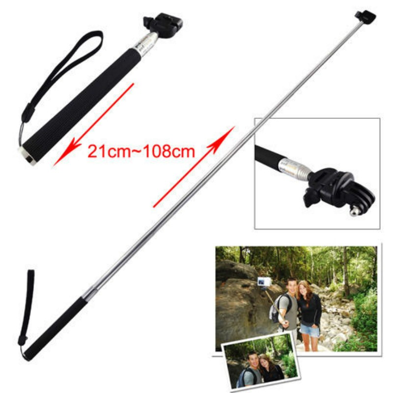 Extendable Selfie Stick Monopod For GoPro Hero 7 6 5 4 3+ 3 Action Cam Go Pro HD Camera Selfie Stick Light Weight Tripod
