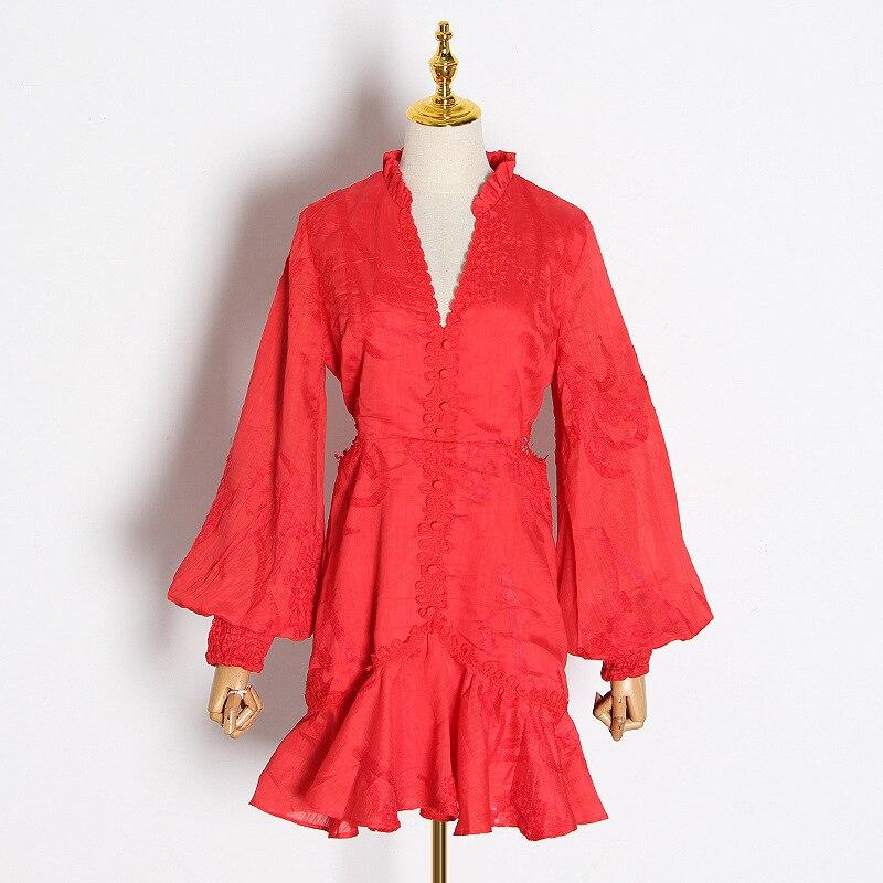 Nouveau magasin signe sexy rosée taille col en v lanterne manches de nouveau fonds d'hivers lourd broderie robe blanche femme - 3
