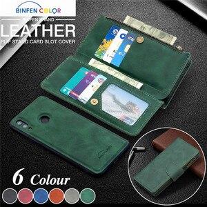 Image 1 - Huawei P 스마트 2020 지퍼 지갑 카드 커버에 대 한 자기 가죽 지갑 케이스 Y5 Y6 Y7 Y9 프라임 2019 전화 케이스 Coque